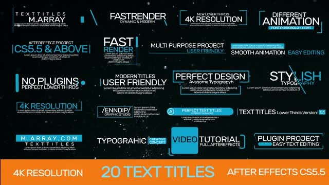 20 Text Titles: After Effects Templates