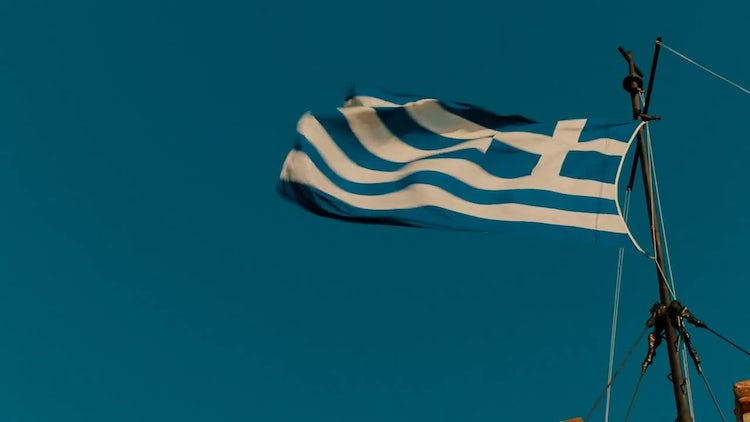 Close-up of Greek Flag: Stock Video