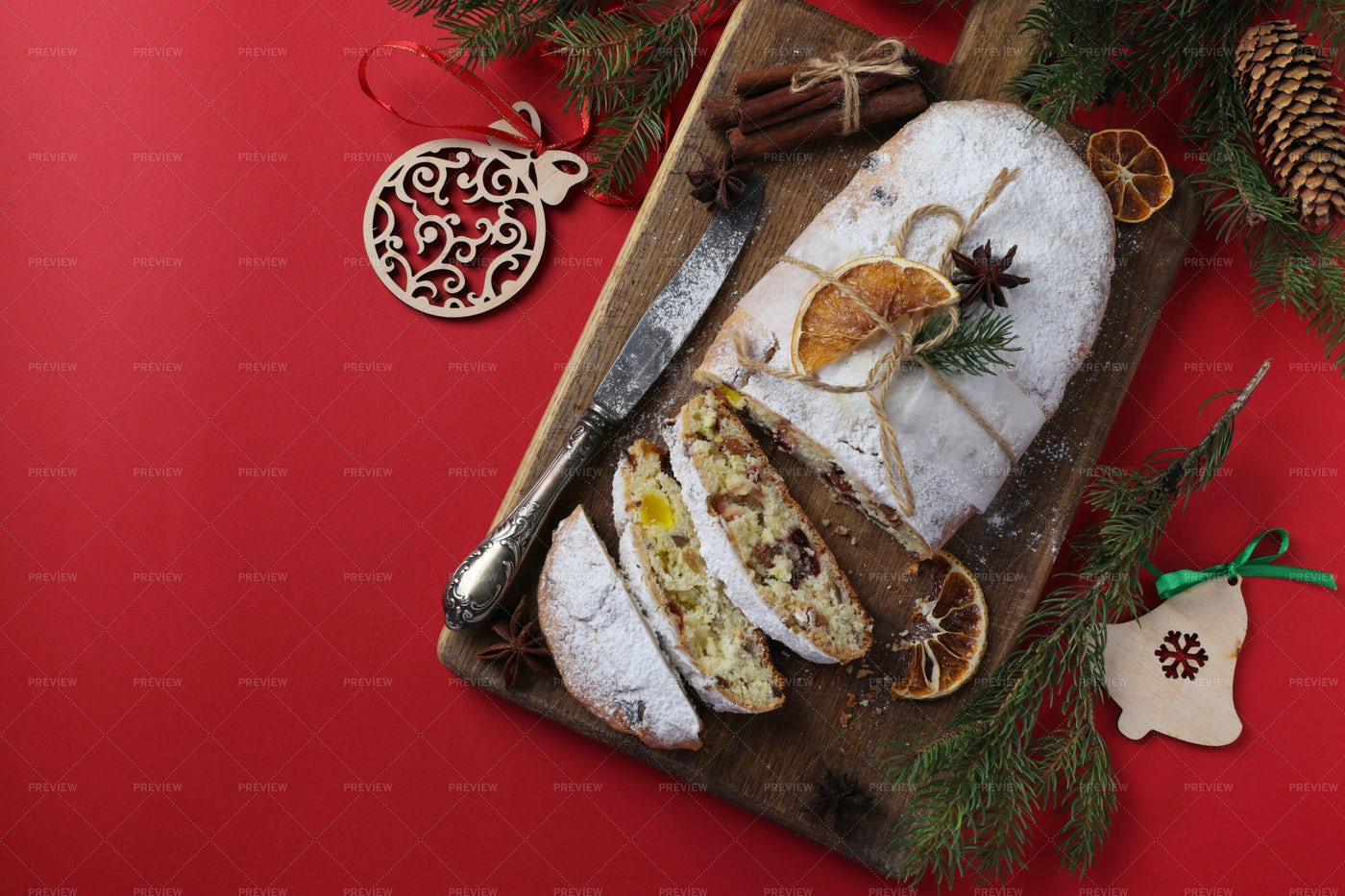 Christmas Stollen With Dry Fruits: Stock Photos