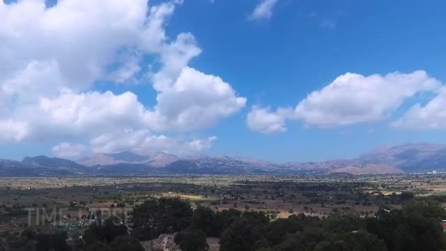 White Clouds Moving Over Plateau: Stock Video