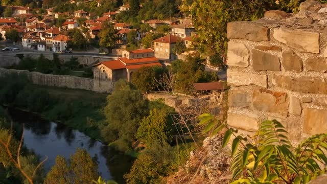 Panning Shot Of Veliko Tarnovo: Stock Video