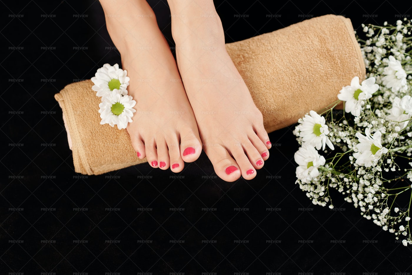 Manicured Feet On A Towel: Stock Photos