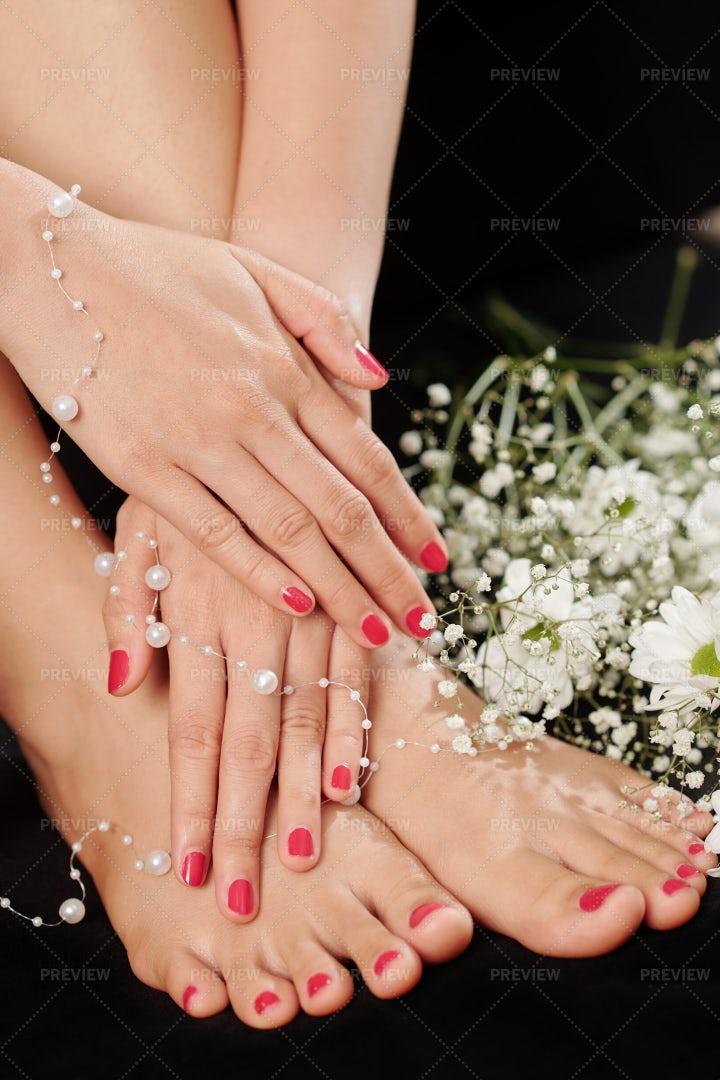 Manicure-Pedicure On A Black Background: Stock Photos