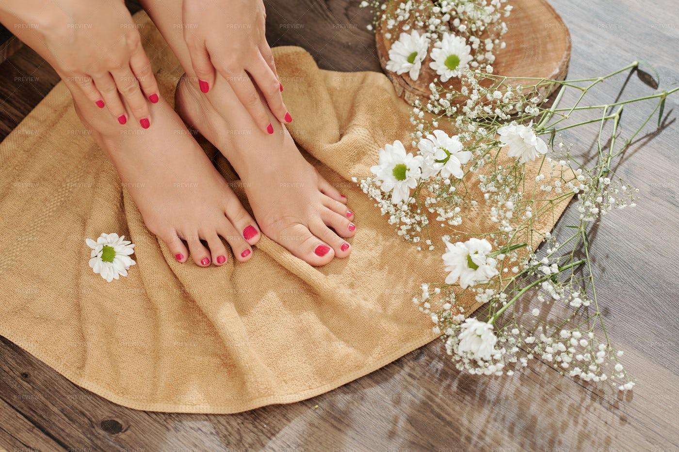 Woman Wiping Pedicured Feet: Stock Photos