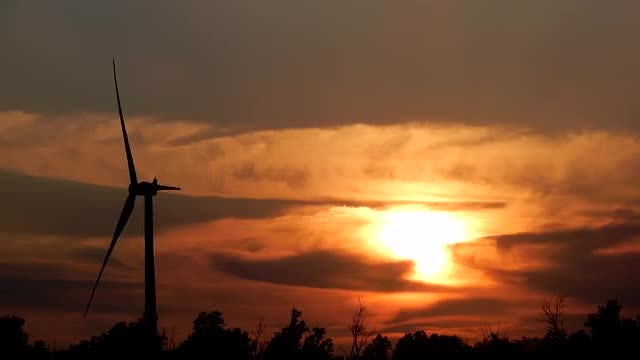 Wind Farm With Golden Sunset: Stock Video