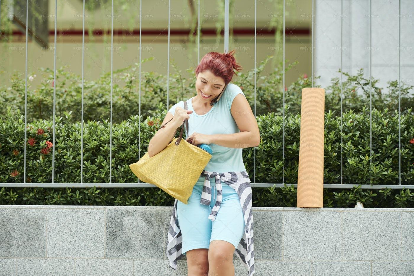 Cheerful Woman Talking On Phone: Stock Photos