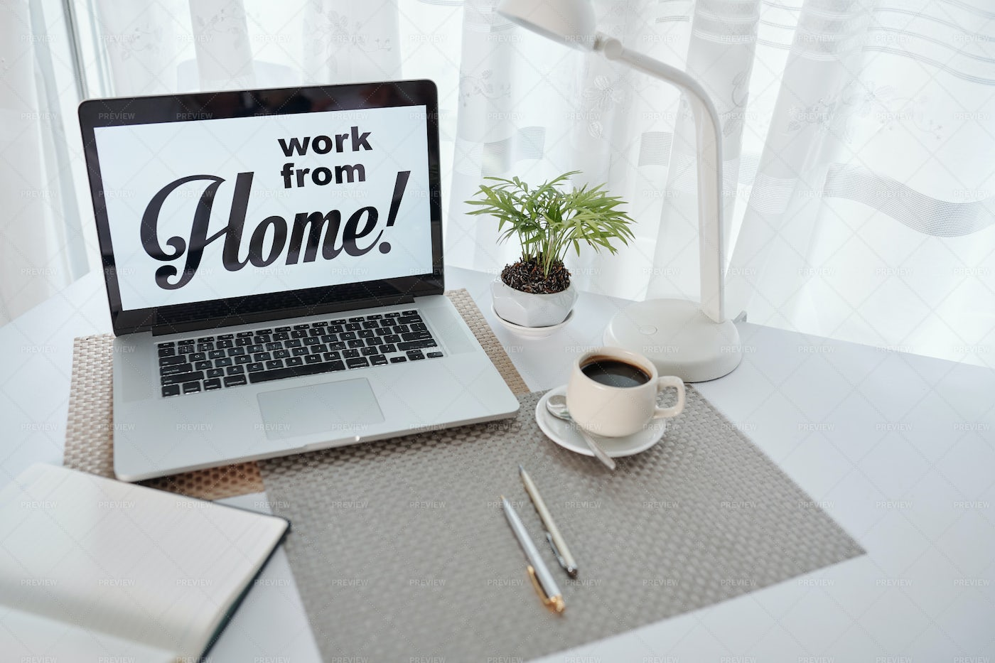 Working From Home Setting: Stock Photos