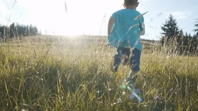 Boy Running On Wet Grass: Stock Video