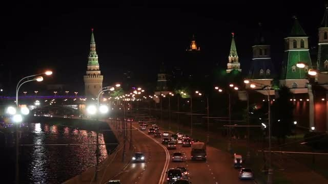Moscow Kremlin At Night: Stock Video