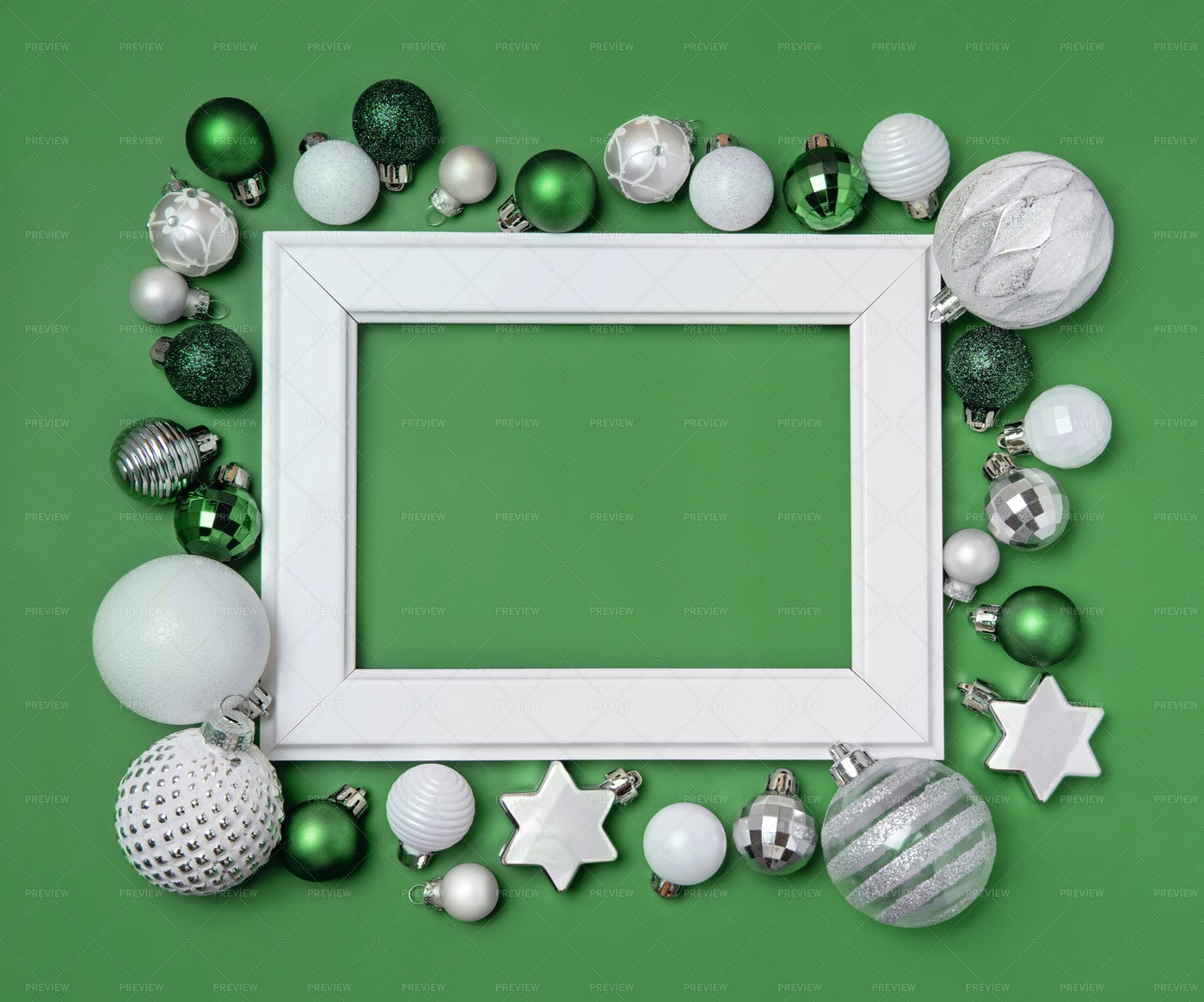 White Frame With Christmas  Decorations: Stock Photos