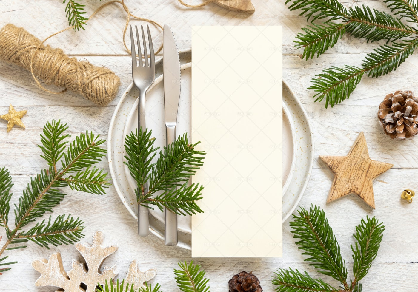 Table Setting With Fir  Branches: Stock Photos