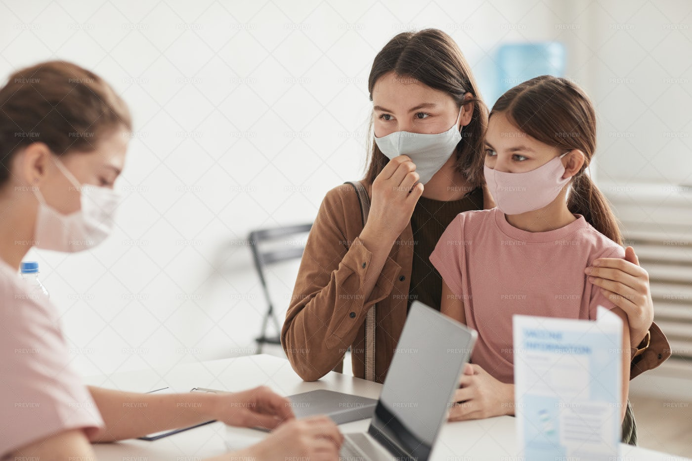 Mom And Girl Visiting Doctor: Stock Photos