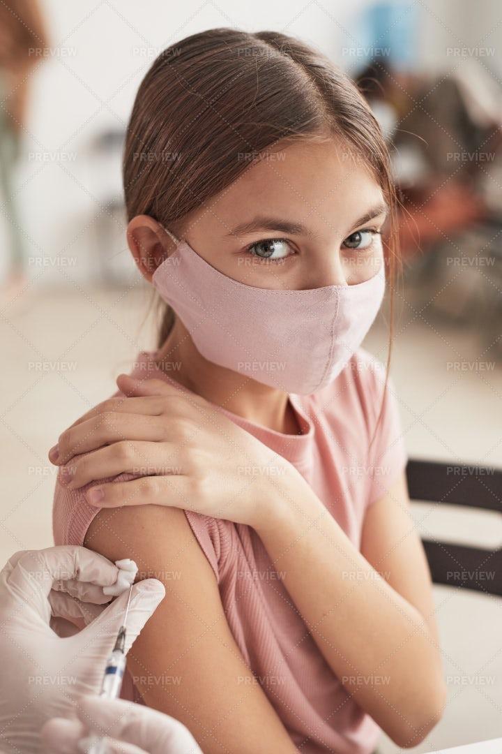 Girl At Vaccination Center: Stock Photos