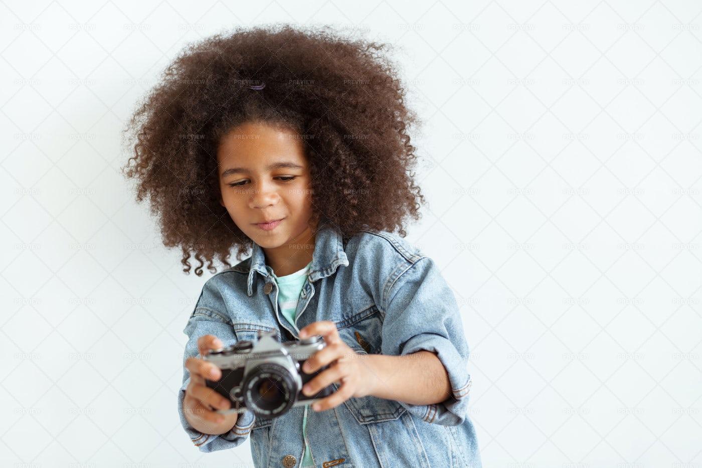Girl With A Retro Camera: Stock Photos