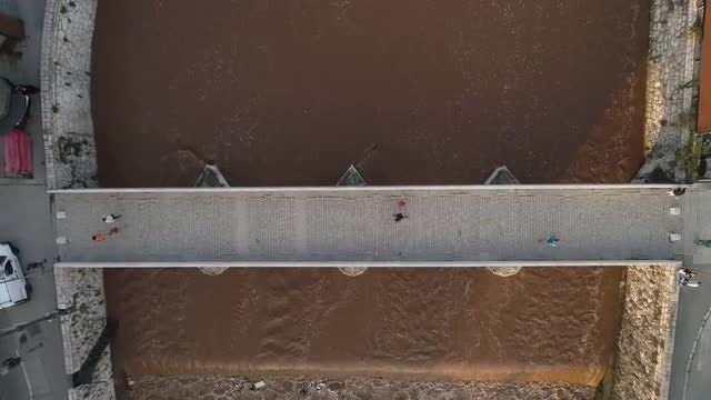 Aerial Shot Of Old Bridge : Stock Video