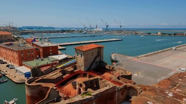 Livorno Old Harbor, Tuscany, Italy: Stock Video