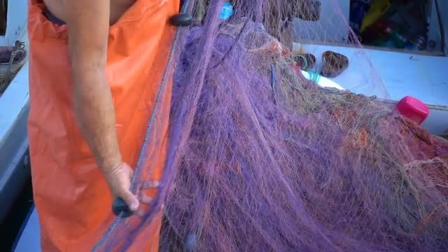 Fisherman Repairing Wet Fishnet: Stock Video