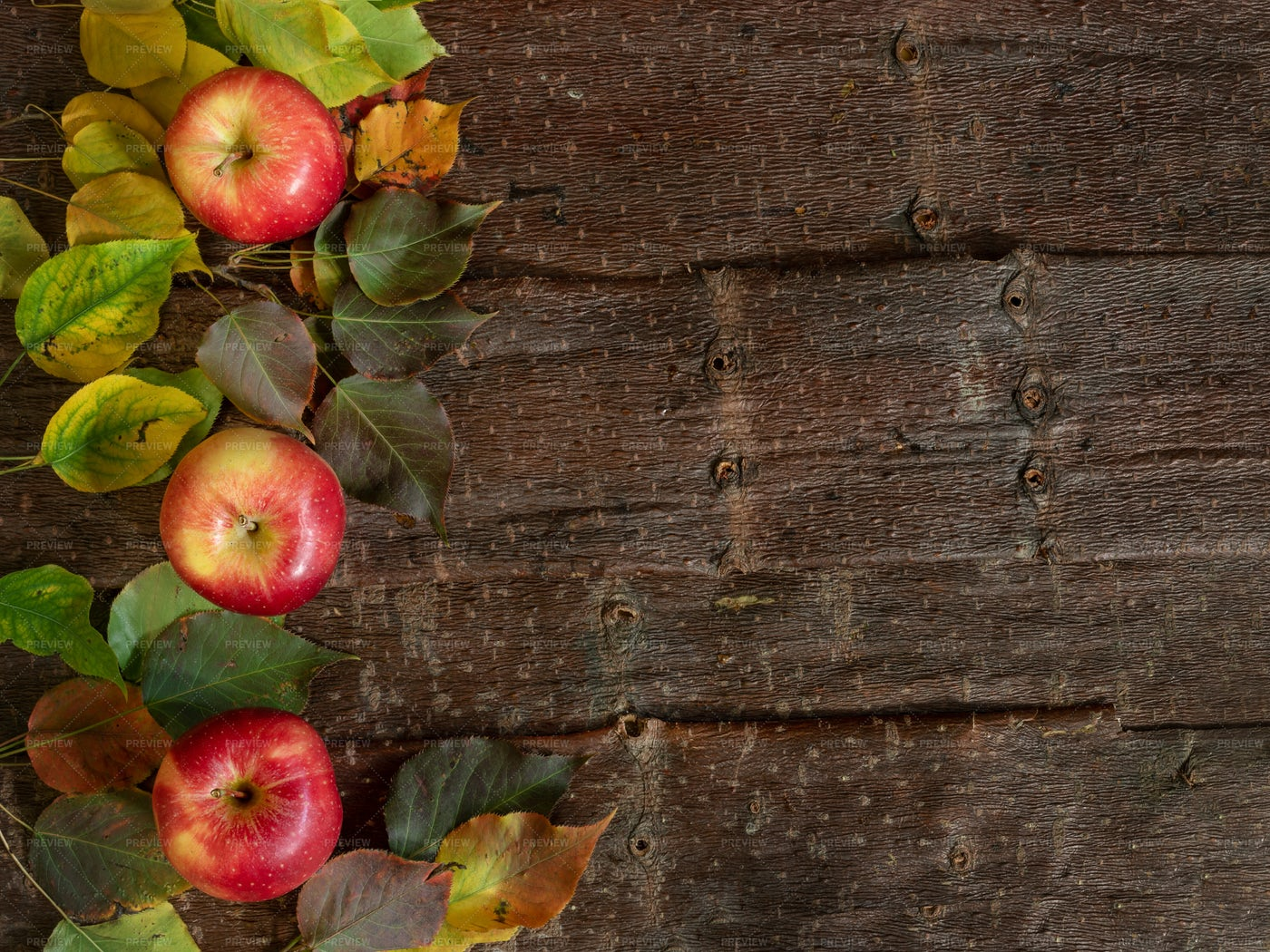 Fall Wooden Background With Apples: Stock Photos