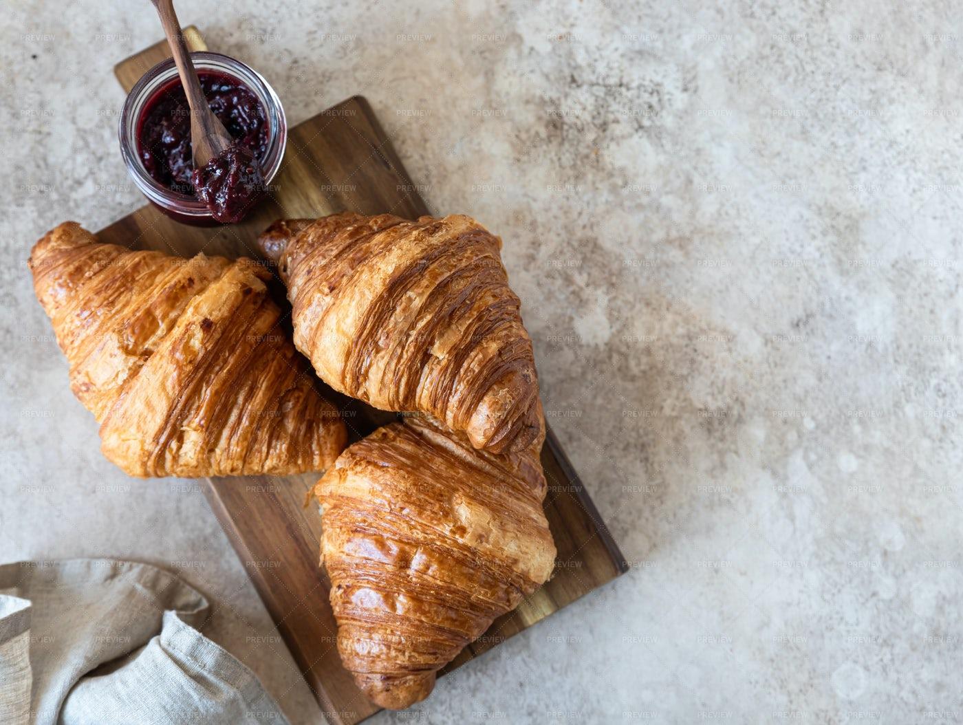 Crispy Croissants With Jam: Stock Photos