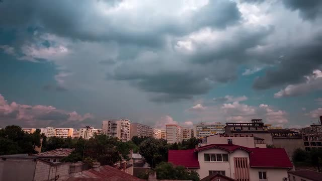 Dramatic Clouds Moving Over Residential Area: Stock Video