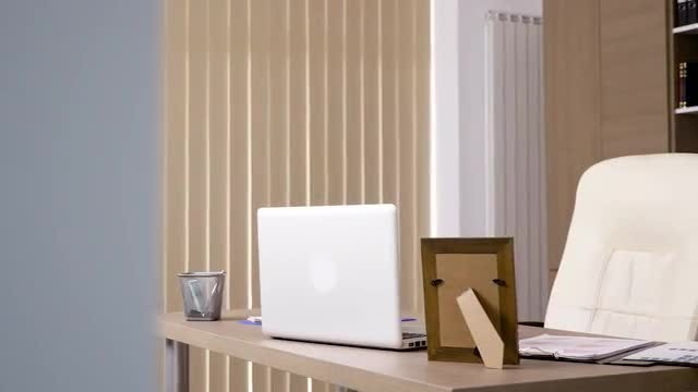Empty Office With A Laptop: Stock Video