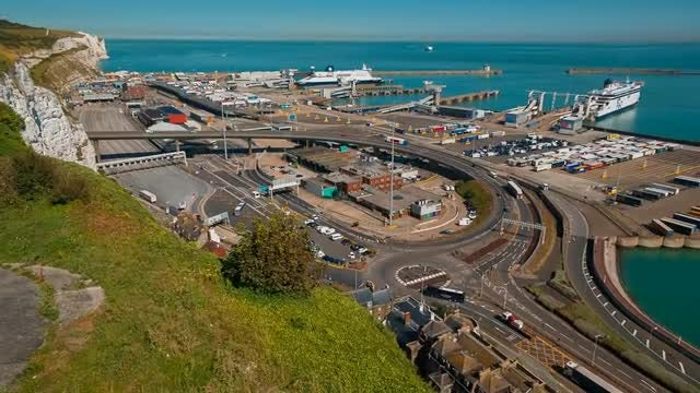 Establishing Shot Of The Dover Port, England: Stock Video