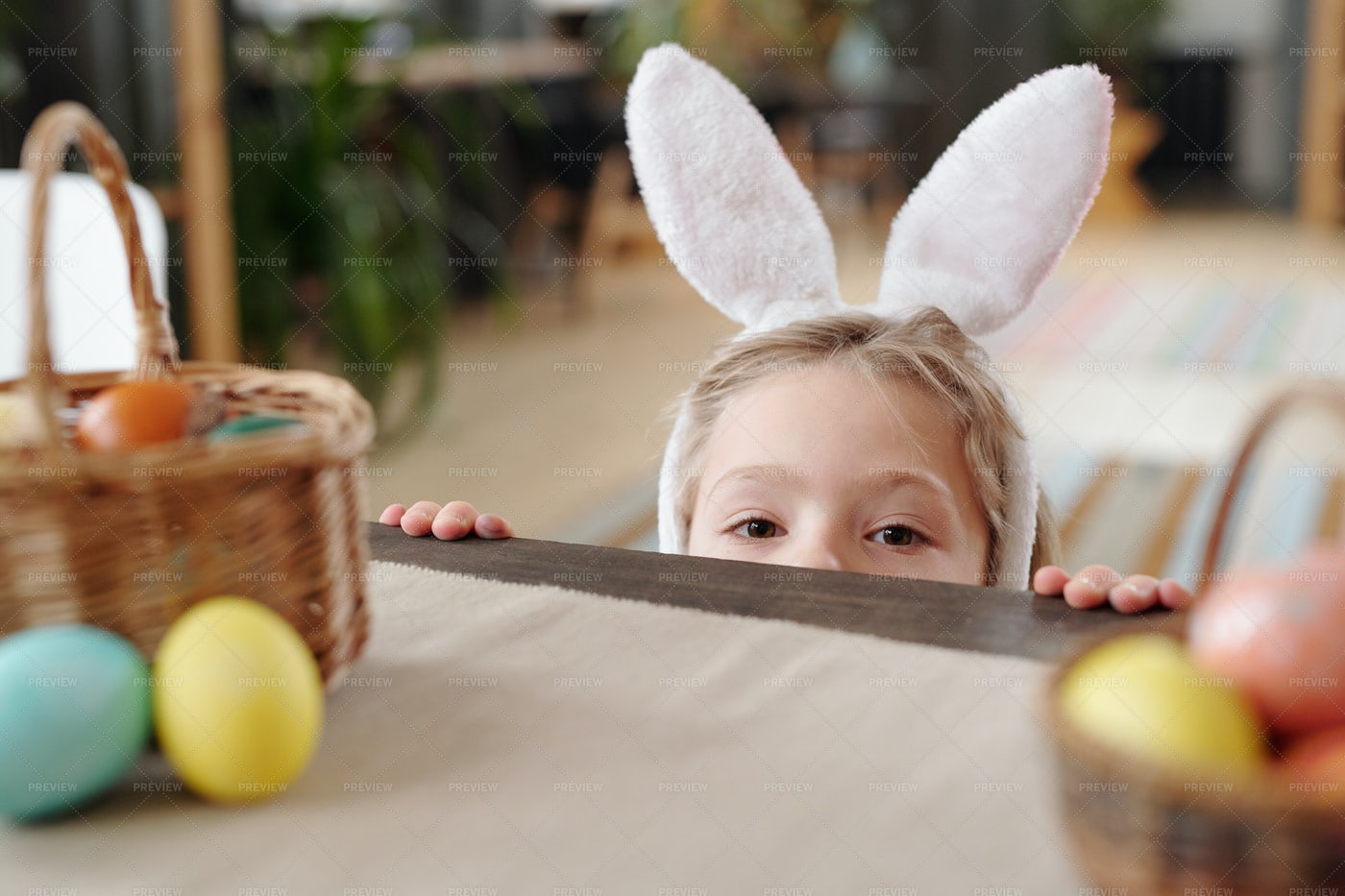 Little Boy With Rabbit Headband: Stock Photos