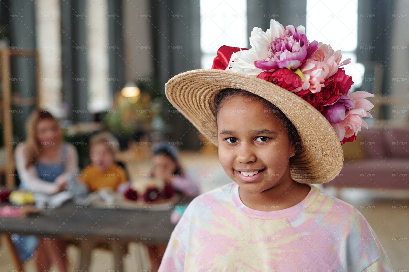 Girl In Decorated Hat: Stock Photos