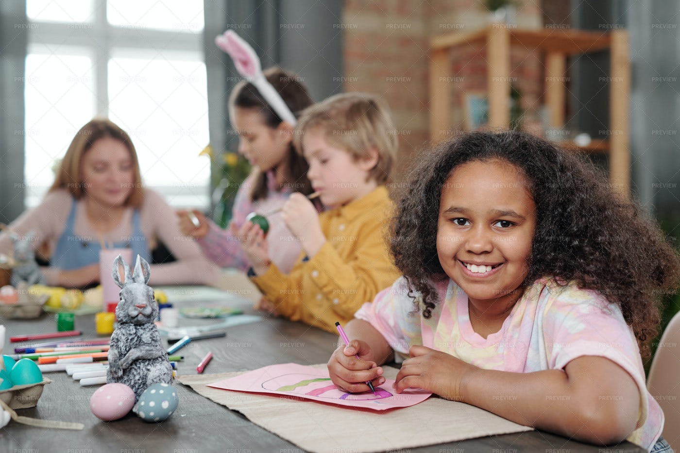 Kids Preparing For Easter Holiday: Stock Photos