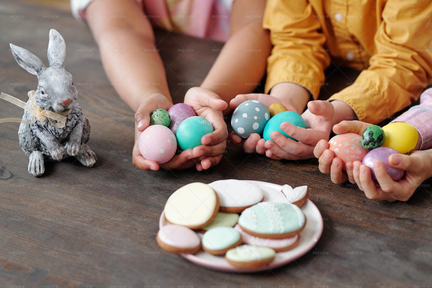 Children Holding Easter Eggs: Stock Photos