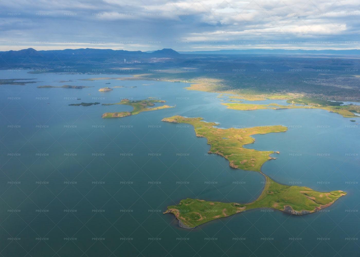 Icelandic Skutustadagigar Pseudocraters: Stock Photos
