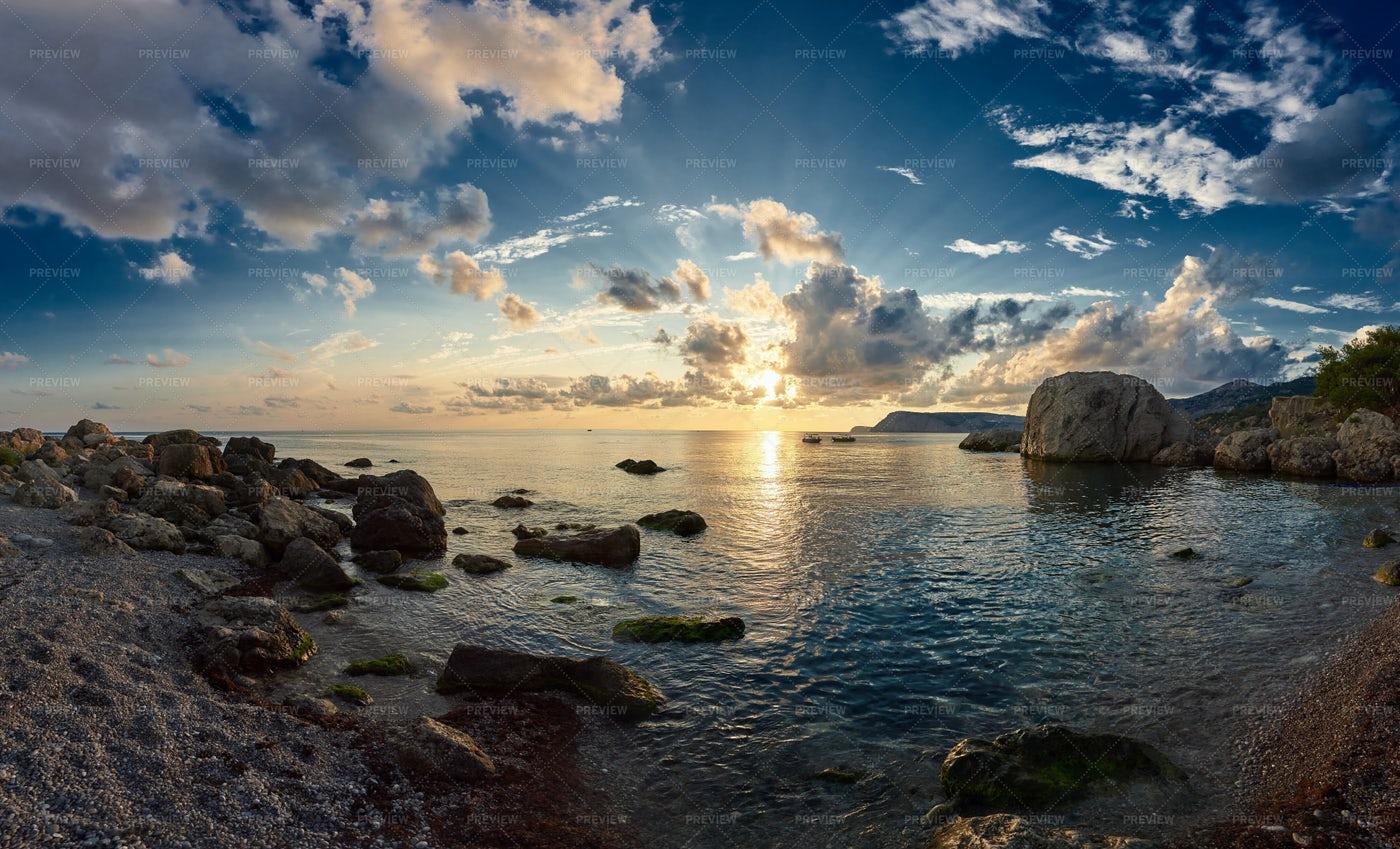 Sunset Sky Over Ocean: Stock Photos