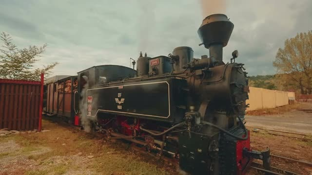 Steam Freight Train In Rural Village: Stock Video