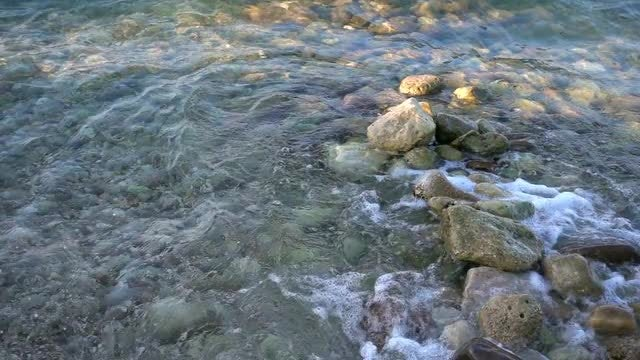 Small Waves On Rocks: Stock Video