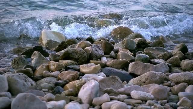 Ocean Waves On Beach Pebbles : Stock Video