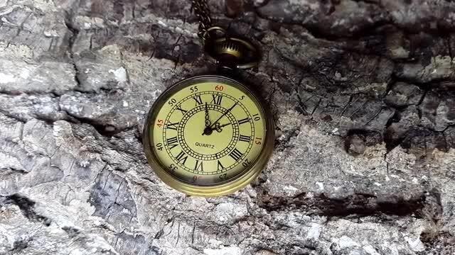 Golden Pocket Clock Ticking: Stock Video