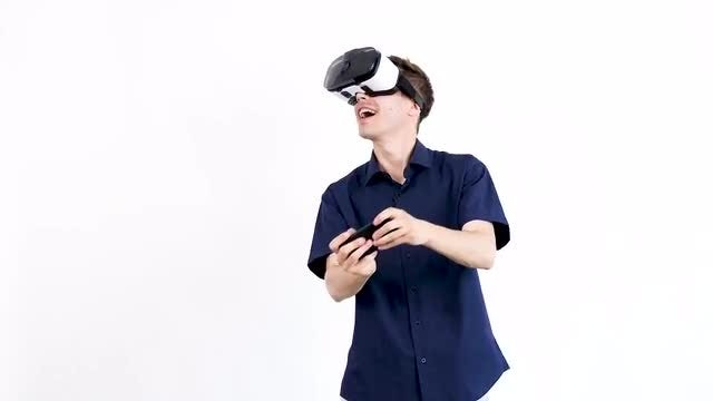 Playing Games With VR Headset: Stock Video