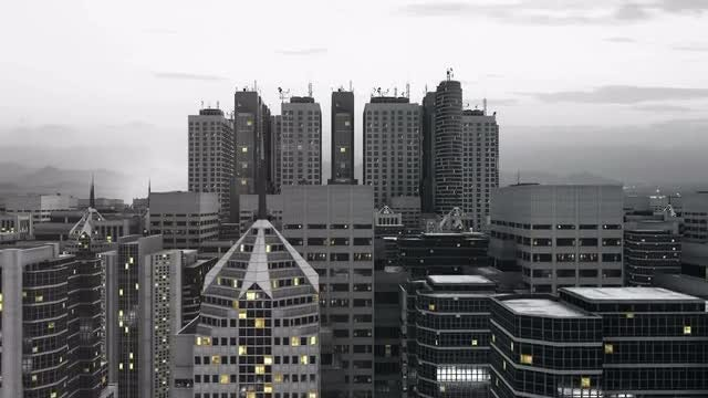 Flying Up And Overlooking The City: Stock Motion Graphics