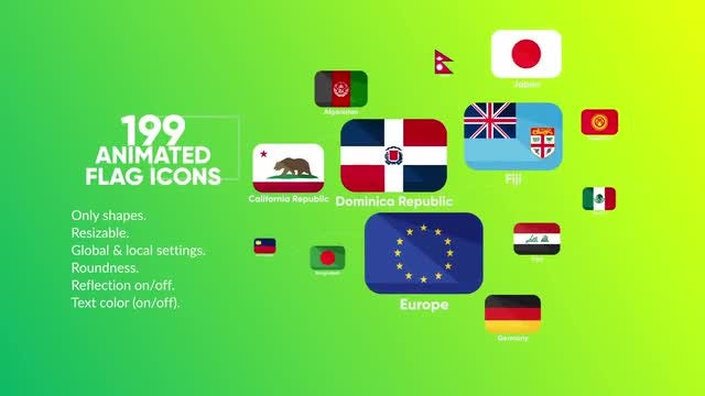 199 Animated Flag Icons: After Effects Templates