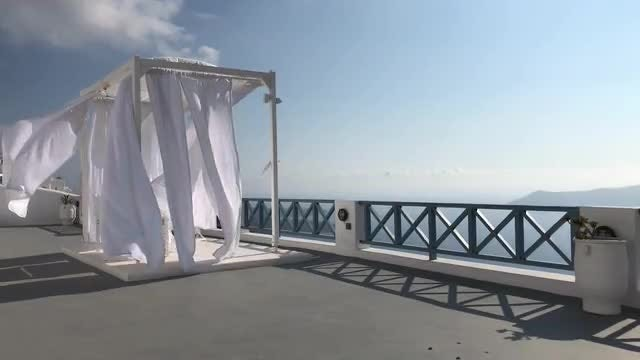 Fluttering Canopy In Santorini Resort : Stock Video