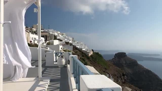 White Flowing Canopy In Santorini : Stock Video