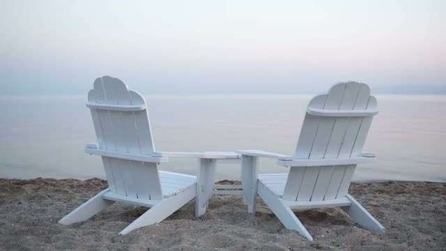 Wooden Deck Chairs On Beach: Stock Video