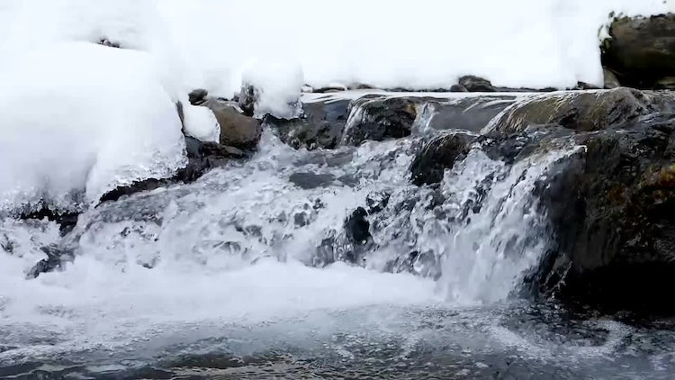 Close-up Shot Of Frozen River: Stock Video