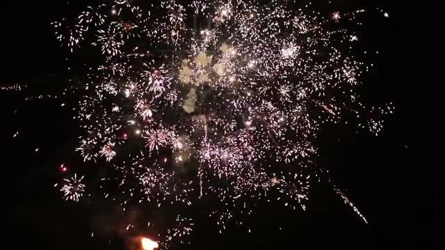 Fireworks On Dark Sky: Stock Video