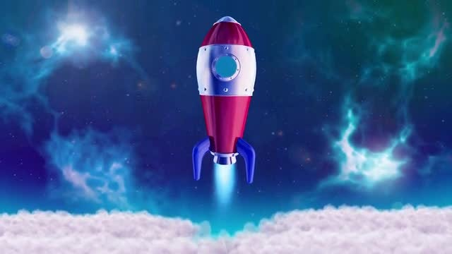 3D Rocket Launching Animated Background: Stock Motion Graphics