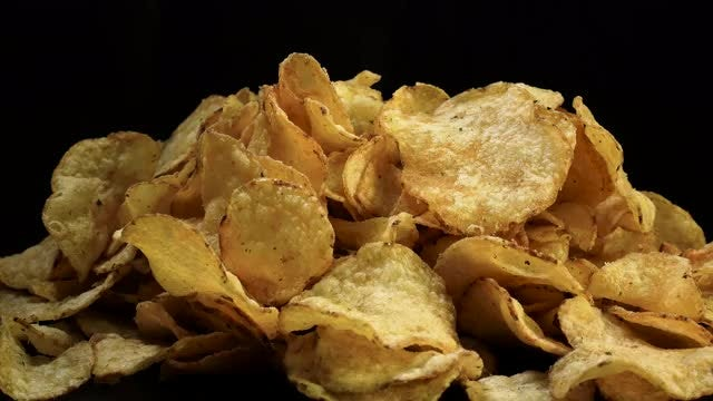 Salted Potato Chips Rotating: Stock Video