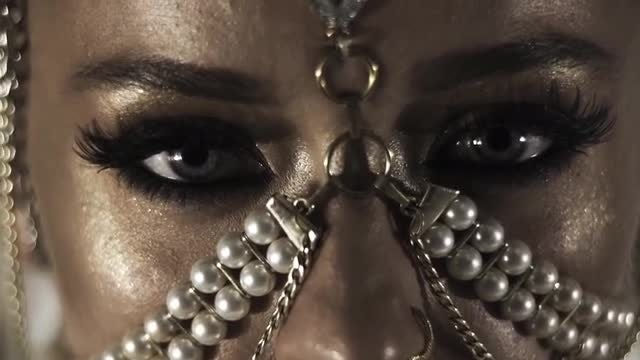 Exotic Woman With Face Jewelry: Stock Video