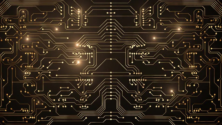 Gold Circuit Board Looped Animation: Stock Motion Graphics