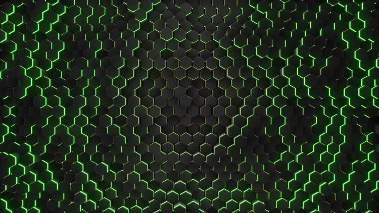 Green Hexagon Abstract Background: Stock Motion Graphics