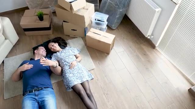 Couple Dreams While Moving House: Stock Video